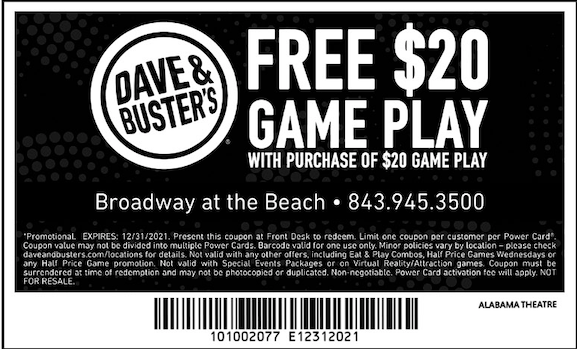 picture regarding Dave and Busters Printable Coupons identified as Eating Financial savings at Alabama Theatre